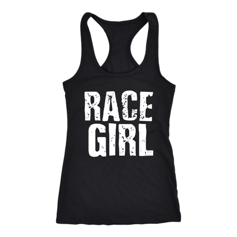 Race Girl Distressed Bold Tank Top - Turn Left T-Shirts Racewear