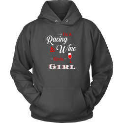 Women Funny Racing Shirts, Racing and Wine By Turn Left T-Shirts