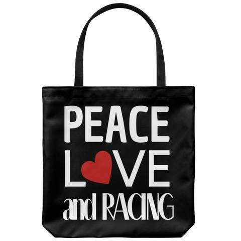 Peace Love And Racing Tote Bag - Turn Left T-Shirts Racewear