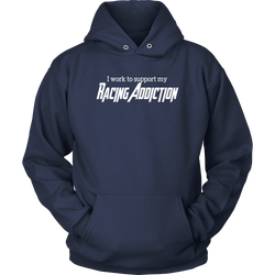 Racing Hooded Sweatshirt, Racing Addiction Hoodie, By Turn Left T-Shirts Racewear.