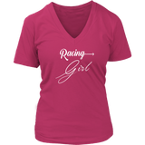 Racing Girl V-Neck T-Shirt - Turn Left T-Shirts Racewear