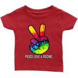 Peace Love And Racing Infant T-Shirt - Turn Left T-Shirts Racewear