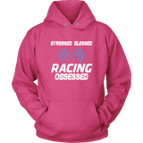 Stressed Blessed Racing Obsessed Hoodie Front Print Blue - Turn Left T-Shirts Racewear