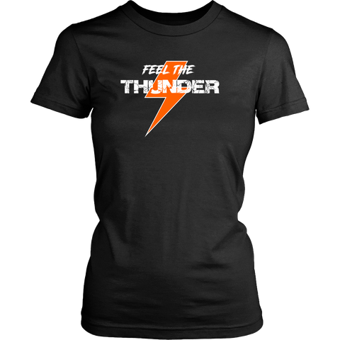 Feel The Thunder Orange Womens T Shirt - Turn Left T-Shirts Racewear