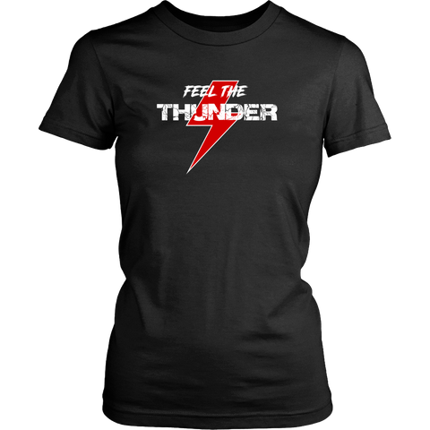 Feel The Thunder Red Womens T Shirt - Turn Left T-Shirts Racewear