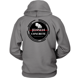 Jensen Concrete inc. Heather Gray Hoodie (FRONT & BACK PRINT) - Turn Left T-Shirts Racewear