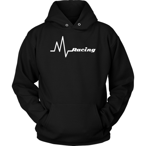 Racing Heartbeat - Life Line Hooded Sweatshirt - Turn Left T-Shirts Racewear
