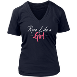 Race Like A Girl V-Neck T-Shirt - Turn Left T-Shirts Racewear