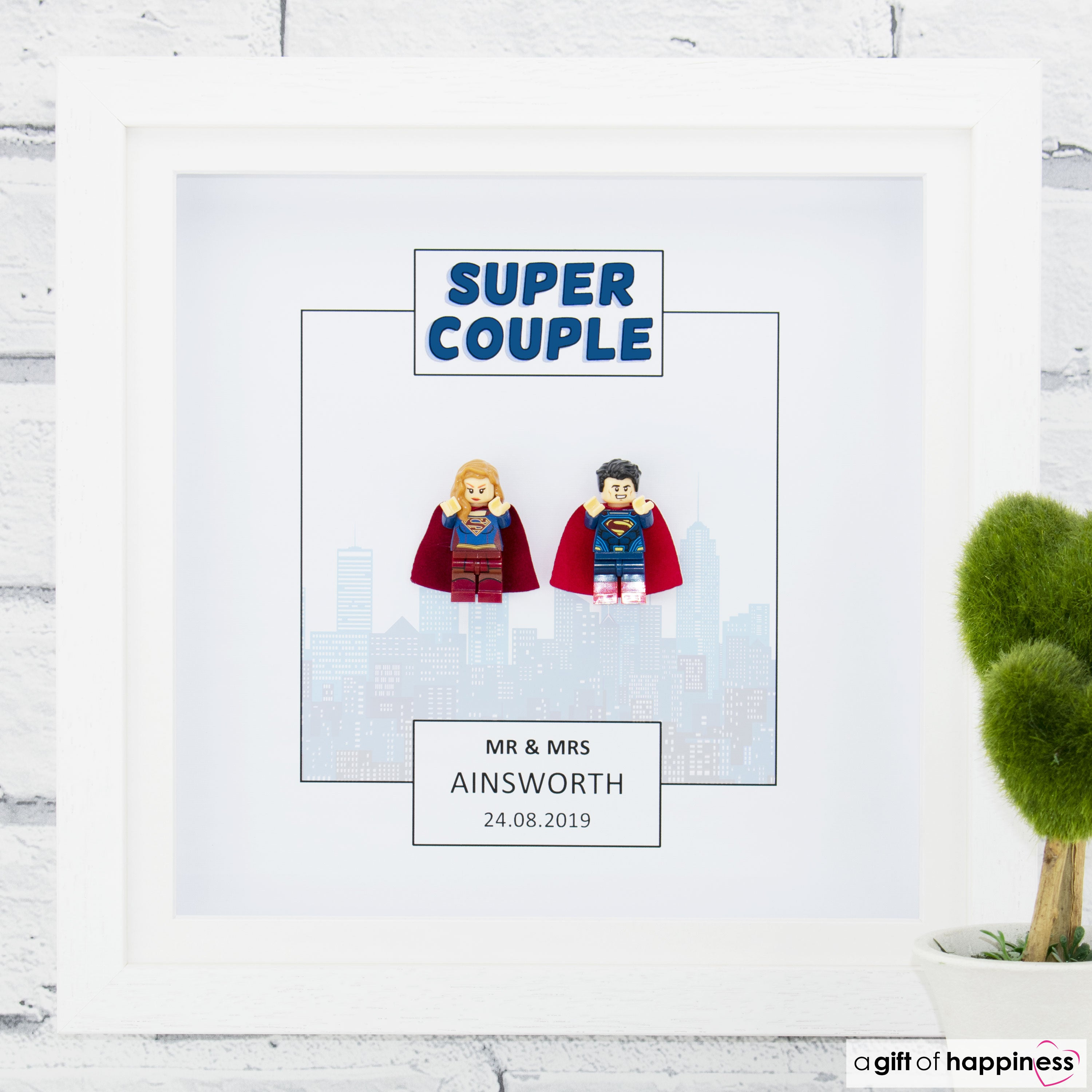 Friends,Birthday,Anniversary, Fathers Day Gift Mum LEGO FAMILY Mini Figure Personalised 3D deep box frame
