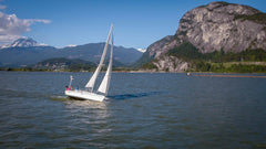 Sailing through beautiful Howe Sound with the Stawamus Chief and Mount Garibaldi in the Background