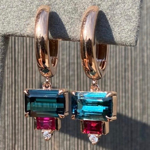 Tourmaline & Ruby Drop Hoops