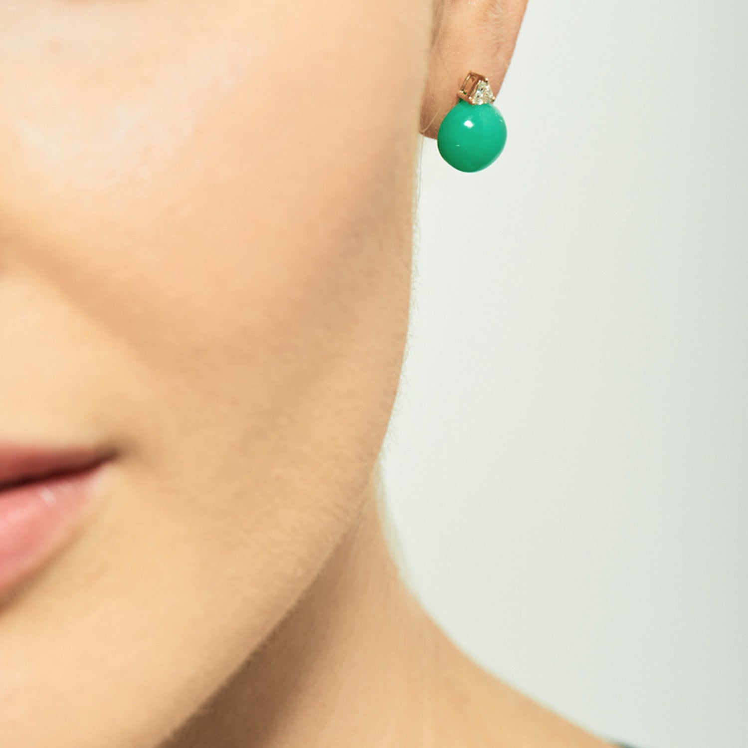 Selin Kent 14K Ada Chrysoprase Earrings with Trillion Diamonds