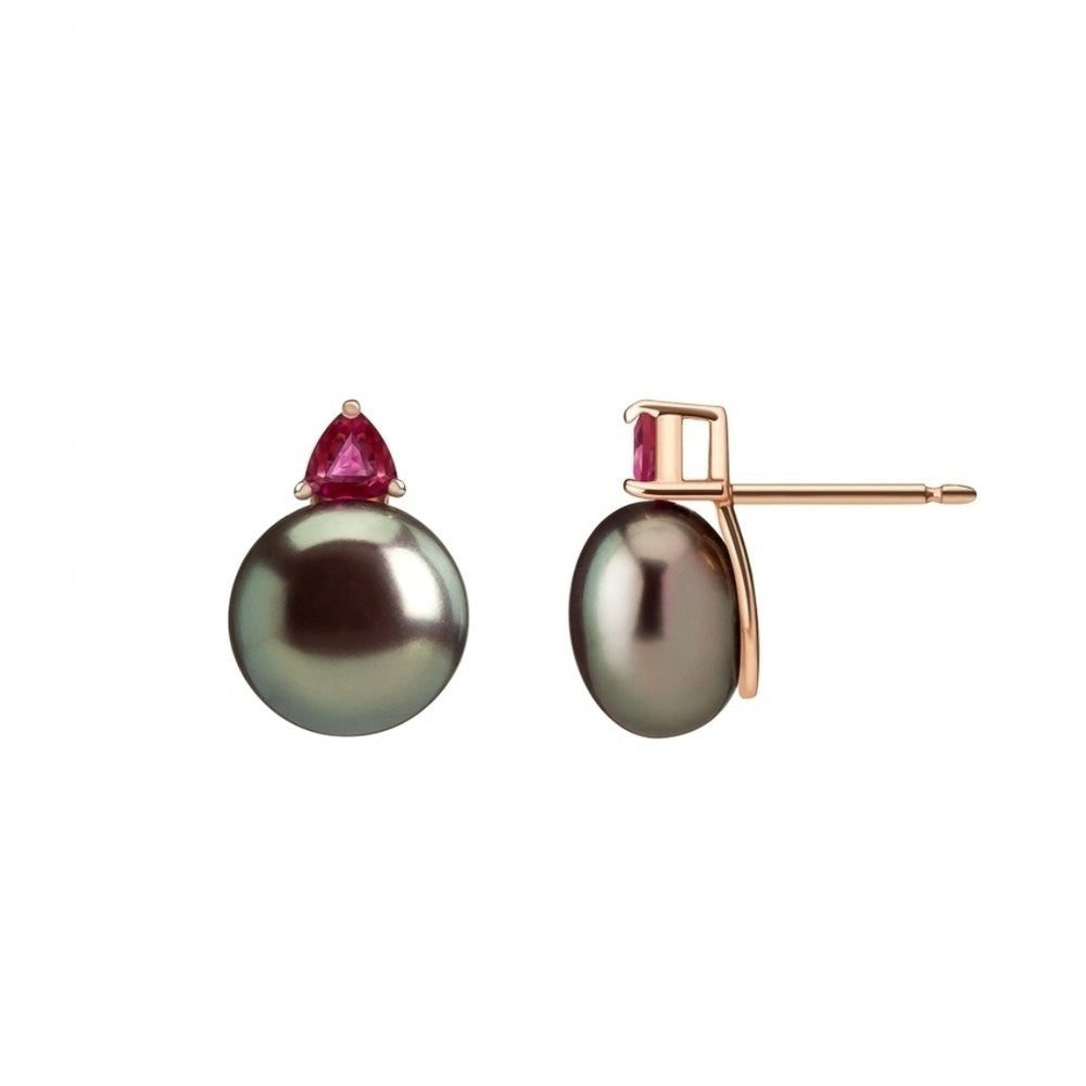 Selin Kent 14K Ada Earrings with Tahitian Pearls and Ruby Trillions