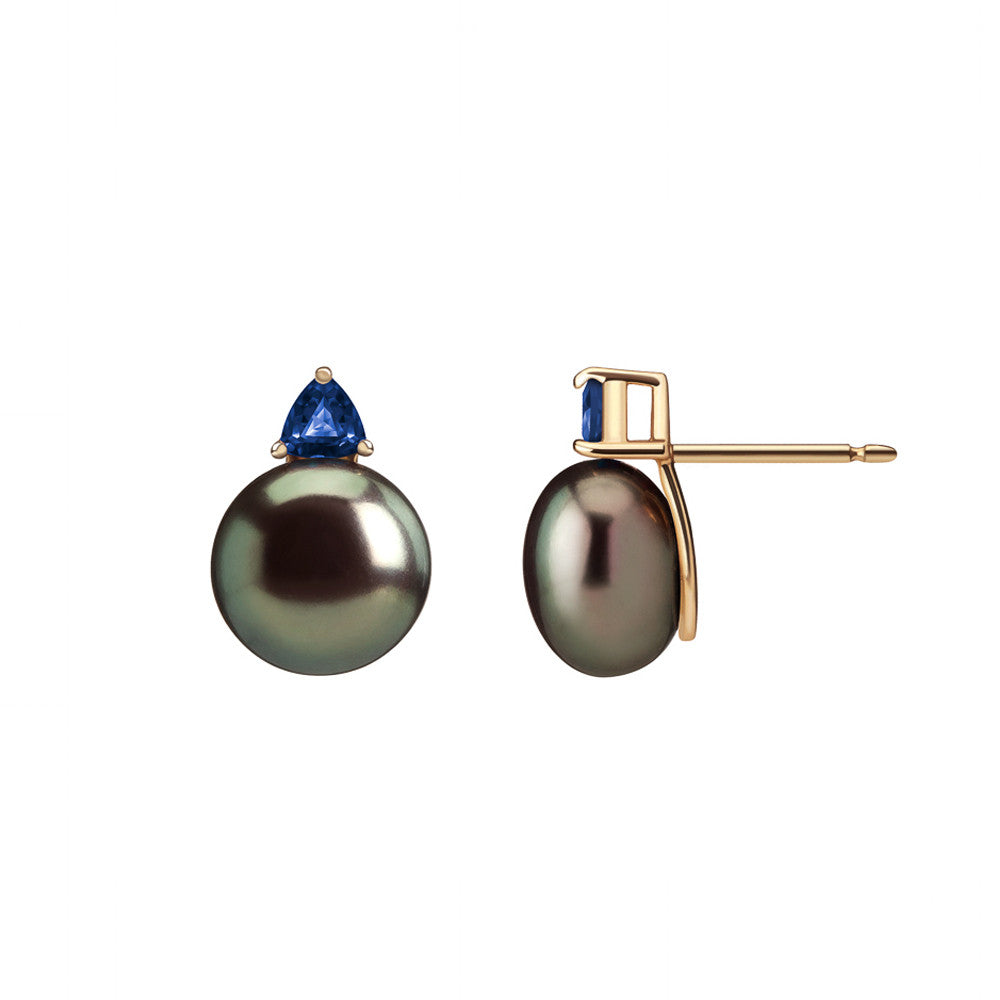 Selin Kent 14K Ada Earrings with Tahitian Pearls and Sapphire Trillions