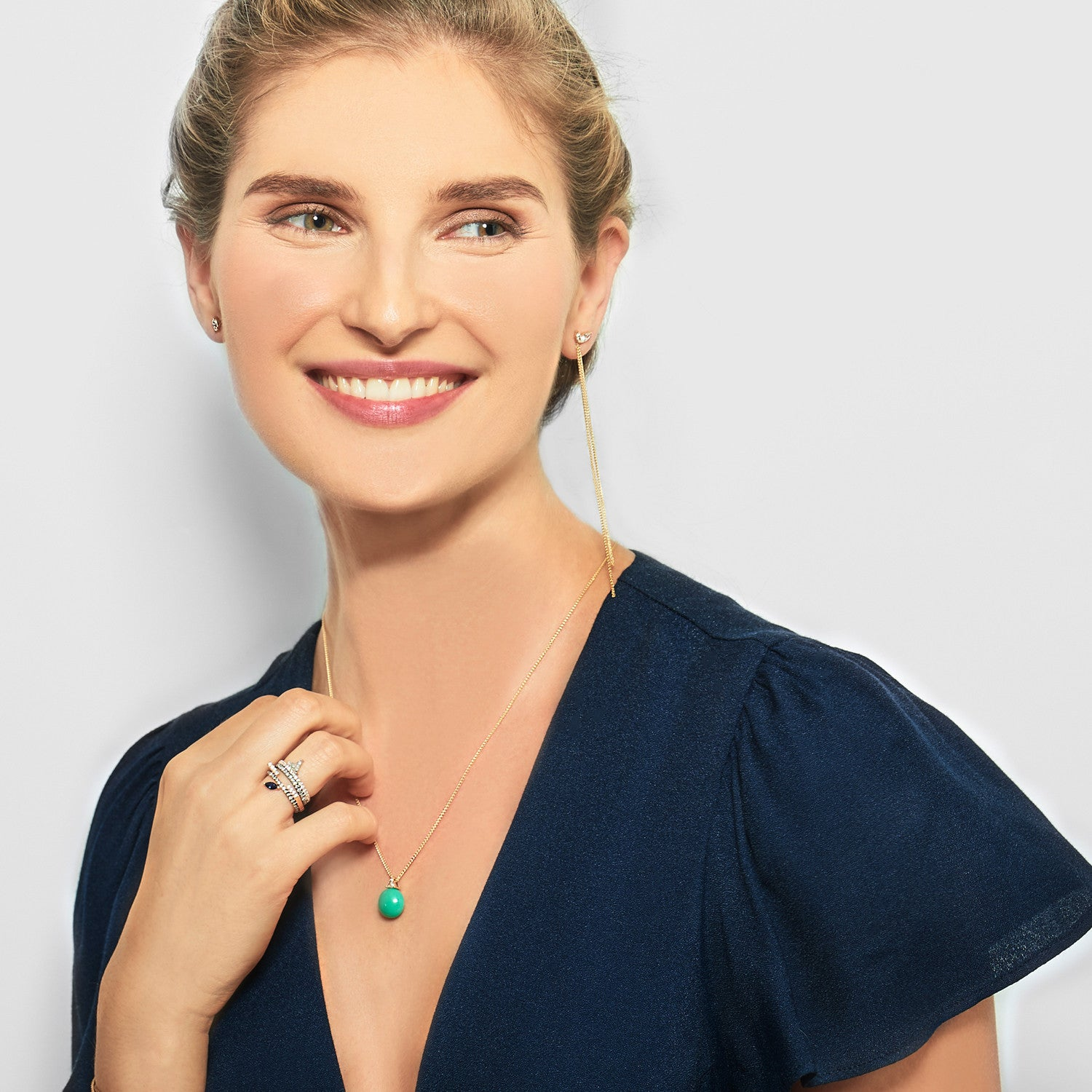 Selin Kent 14K Ada Chrysoprase Necklace with Trillion White Diamond - On Model