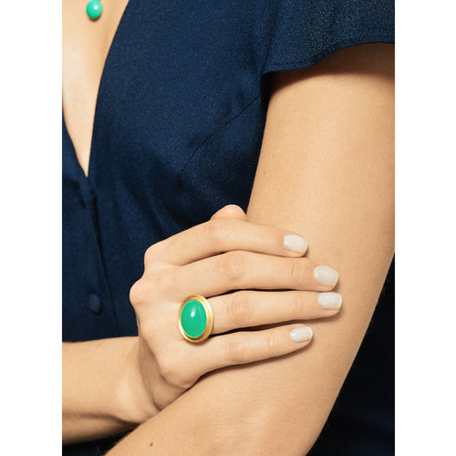 Selin Kent 14K Ada Ring Chrysoprase - On Model
