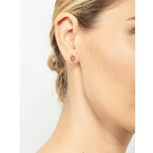 Selin Kent 14K Alana Earrings with White Diamond Baguettes - On Model