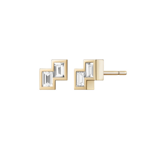 Selin Kent 14K Alana Earrings with White Diamond Baguettes