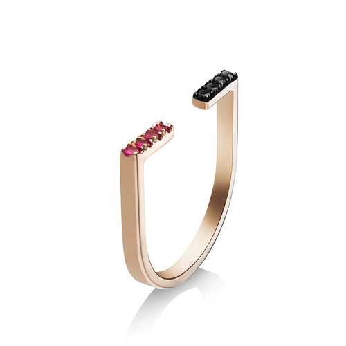 Selin Kent 14K Anais Ring with Black Diamonds and Rubies