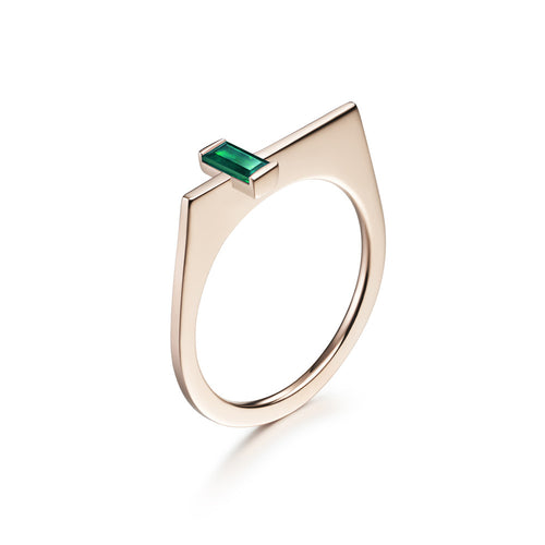 Selin Kent 14K Rose Gold Athena Ring with Baguette Cut Emerald