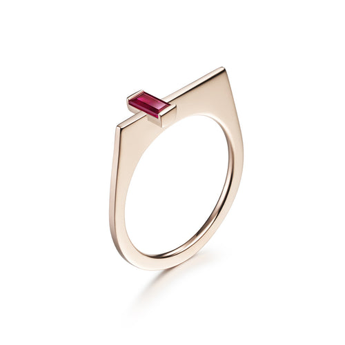 Selin Kent 14K Athena Ring with Baguette Cut Ruby