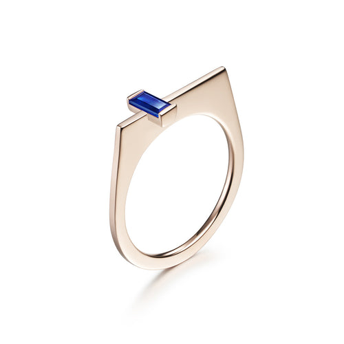 Selin Kent 14K Rose Gold Athena Ring with Baguette Cut Sapphire