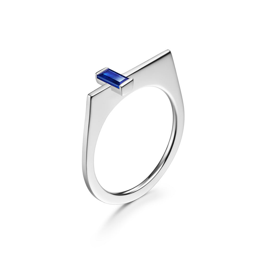 Selin Kent 14K White Gold Athena Ring with Baguette Cut Sapphire