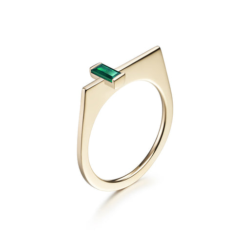 Selin Kent 14K Yellow Gold Athena Ring with Baguette Cut Emerald