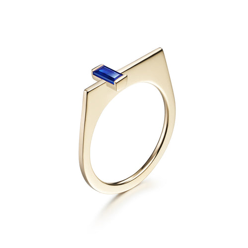 Selin Kent 14K Yellow Gold Athena Ring with Baguette Cut Sapphire