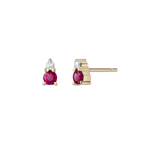 Ayda Studs | Rubies & White Diamonds