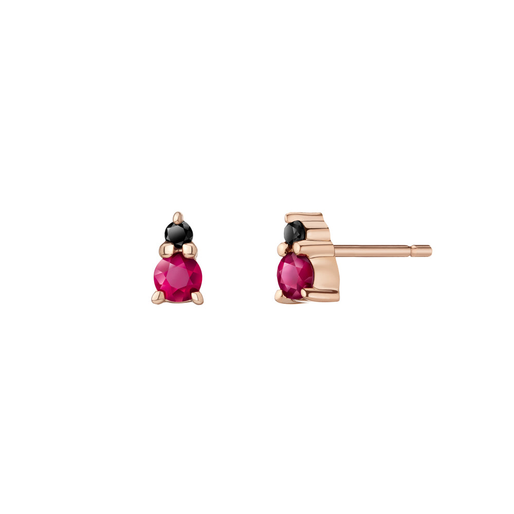 Ayda Studs - Rubies & Black Diamonds