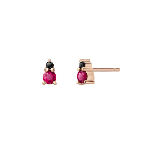 Marlene Mismatch Earrings | Rubies and Black Diamonds