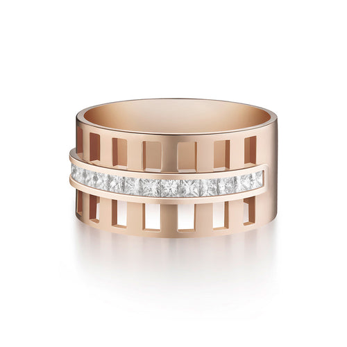 Selin Kent 14K Benita Cigar Band with Princess Cut White Diamonds