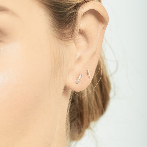 Selin Kent 14K Charlotte Mini Pavé Studs with White Diamonds - On Model