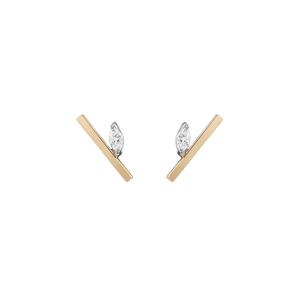 Selin Kent 14K Defne Bar Studs with White Diamond Marquise