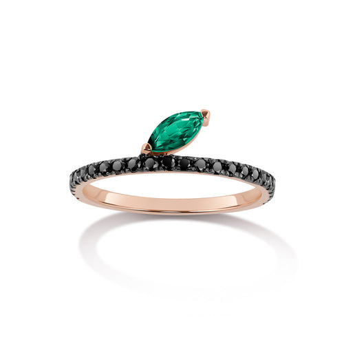 Selin Kent 14K Defne Pavé Ring with Emerald Marquise and Black Diamonds