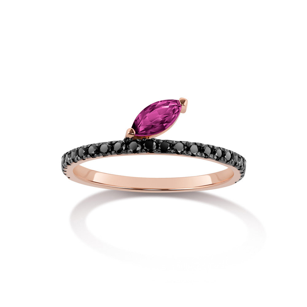 Selin Kent 14K Defne Pavé Ring with Ruby Marquise and Black Diamonds