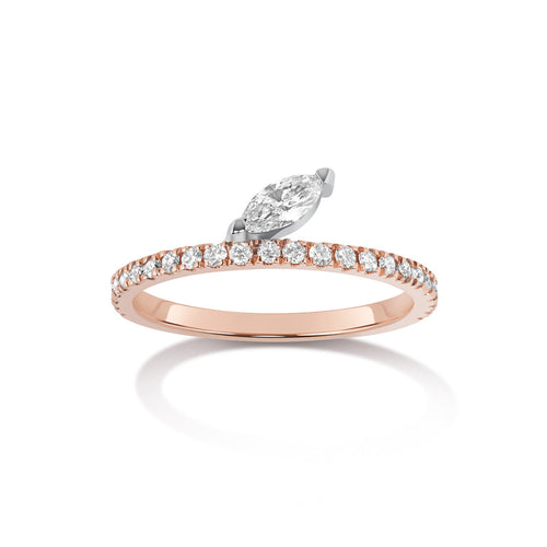 Selin Kent 14K Defne Pavé Ring with Diamond Marquise
