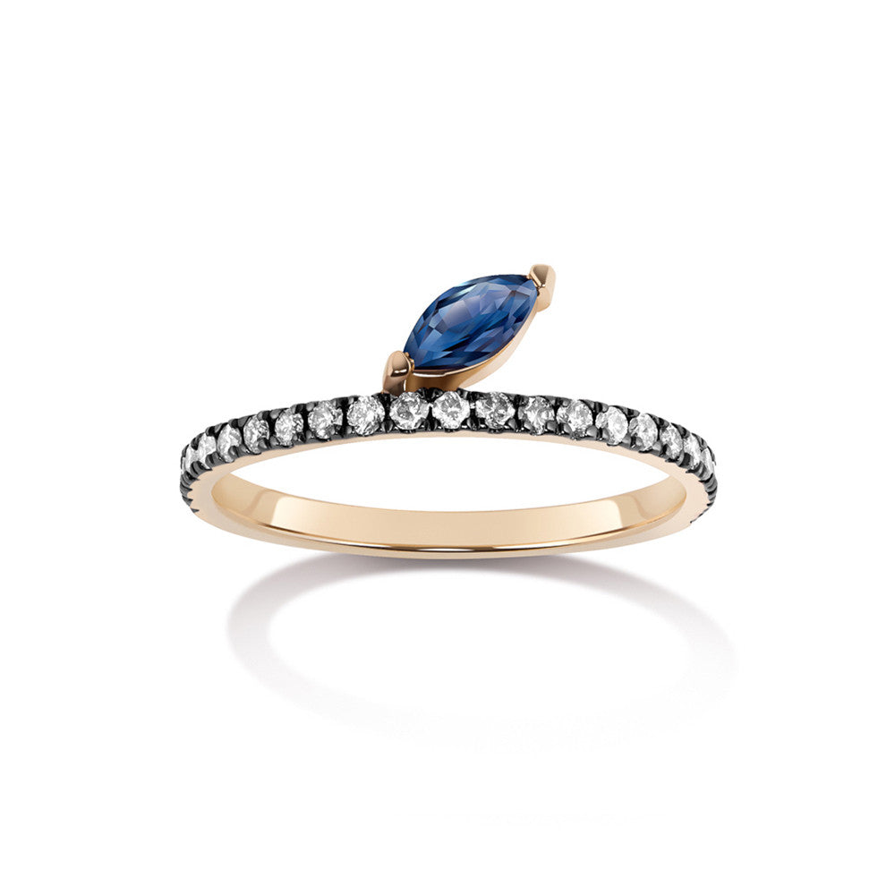 Selin Kent 14K Defne Pavé Ring with Sapphire Marquise and Grey Diamonds