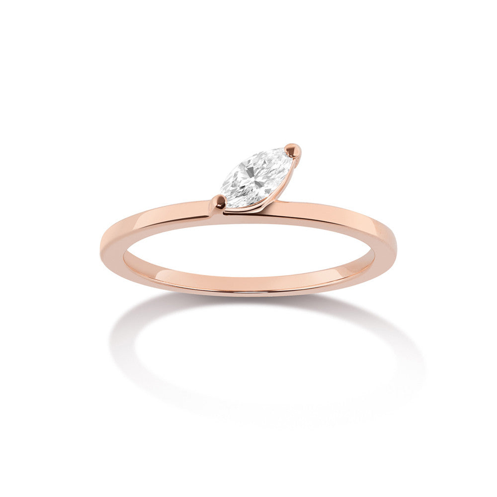 Selin Kent 14K Defne Ring with White Diamond Marquise