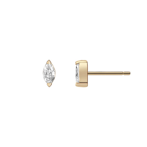 Selin Kent 14K Defne Studs with White Diamond Marquise