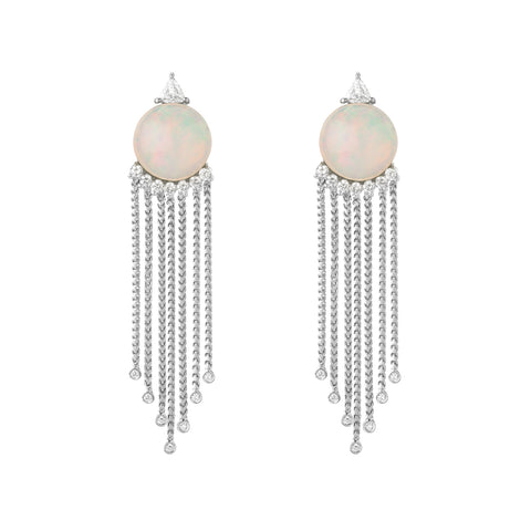 Josephine Drop Earrings - Tahitian Pearl & Sapphire