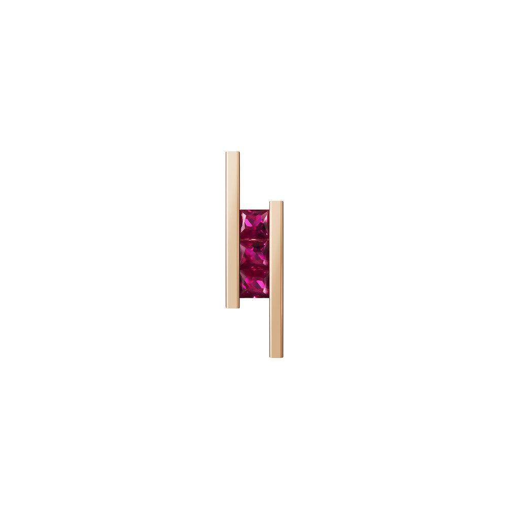 Selin Kent 14K Elena Mini Earrings with Princess Cut Rubies