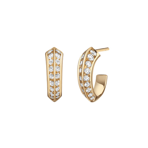 Selin Kent 14K Eva Huggie Hoops with White Diamonds