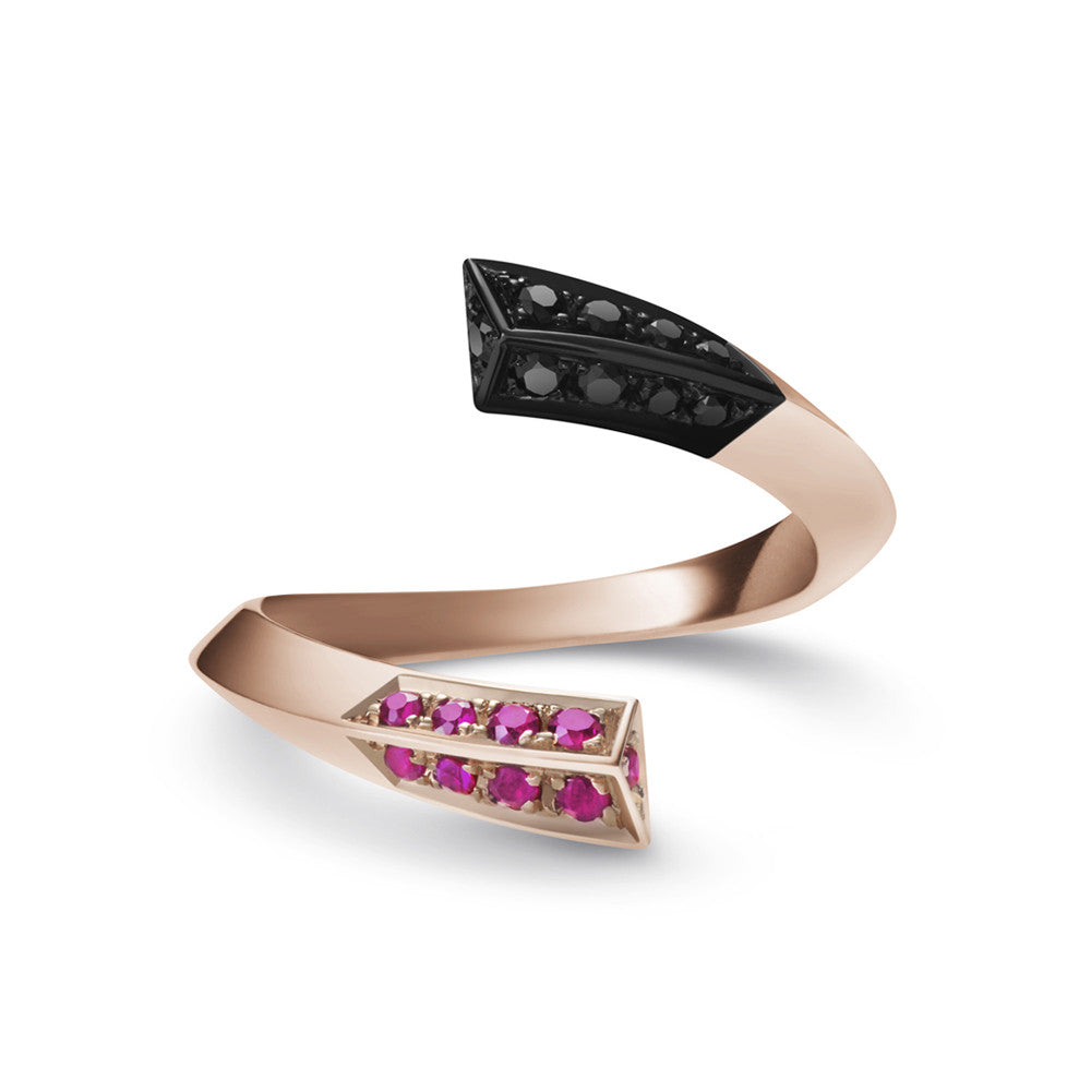 Selin Kent 14K Eva Ring with Rubies and Black Diamonds
