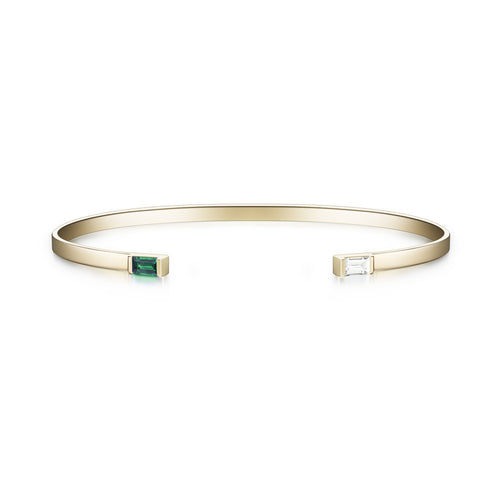 Selin Kent 14K Gaia Cuff with Emerald and White Diamond Baguettes