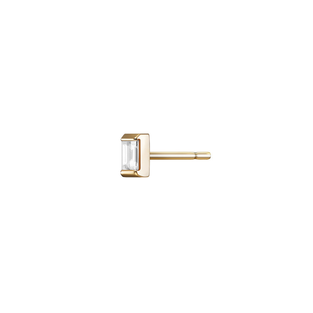 Selin Kent 14K Gaia Stud with White Diamond Baguette