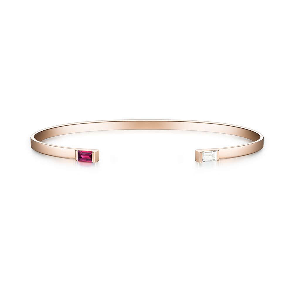 Selin Kent 14K Gaia Cuff with Ruby and White Diamond Baguettes