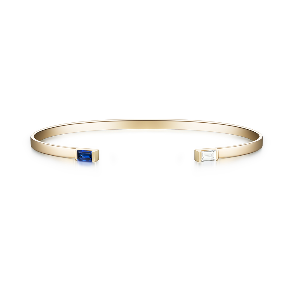 Selin Kent 14K Gaia Cuff with Sapphire and White Diamond Baguettes