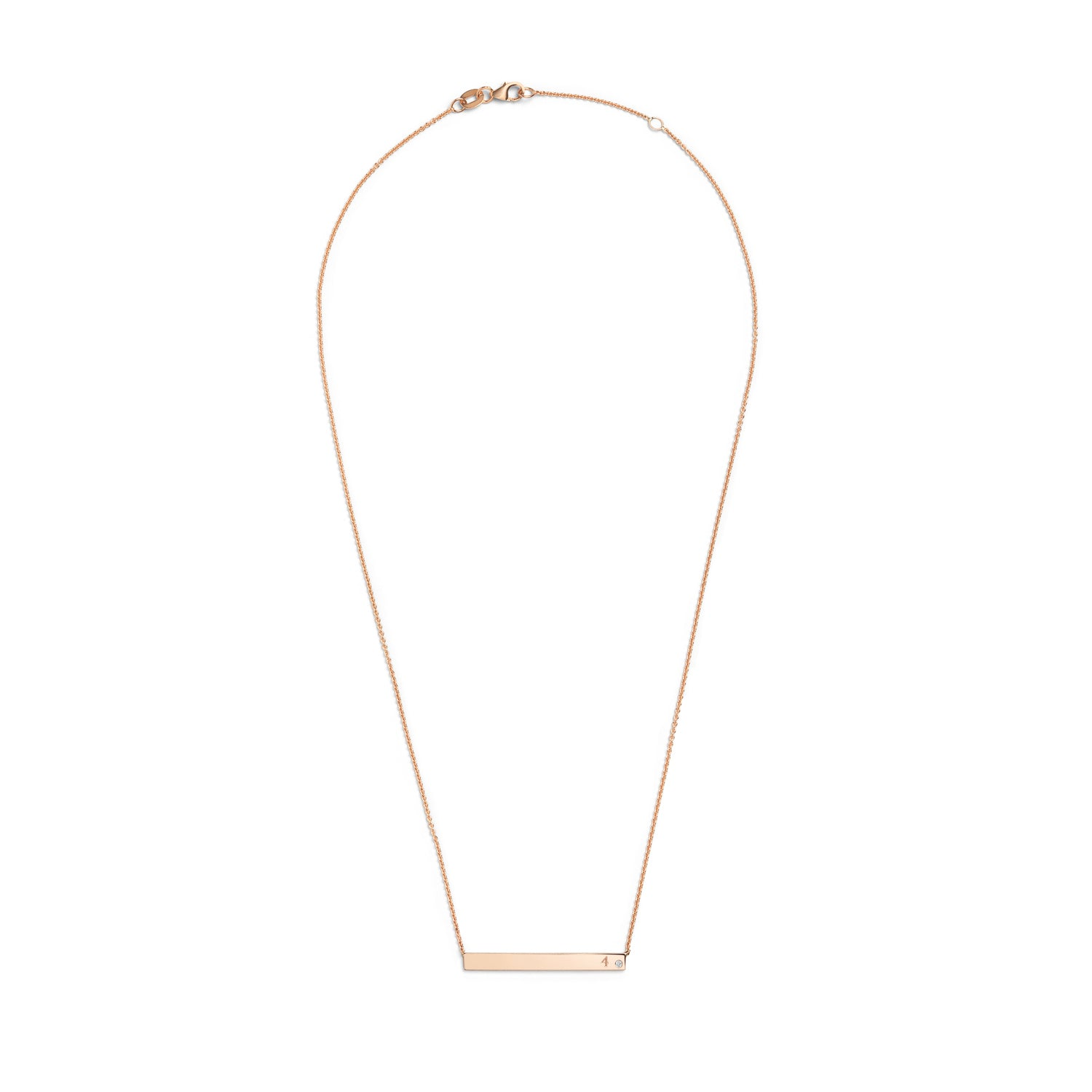Selin Kent 14K Gain Horizontal Necklace with One White Diamond
